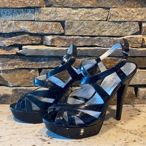 Guess strappy patent leather 5 inch heels